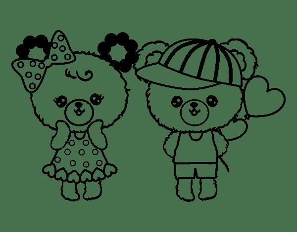 Dibujo De Ositos Kawaii Enamorados Para Colorear