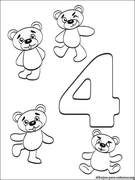 Dibujo Número 4  Dibujos De Números Para Imprimir
