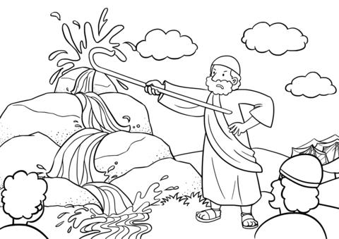 Dibujo De Moisés Saca Agua De La Roca Para Colorear