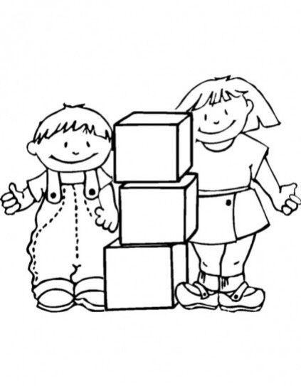 Dibujos De Niños Jugando Para Colorear Preescolar