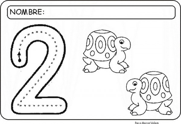 Numero 1 Y 2 Para Colorear