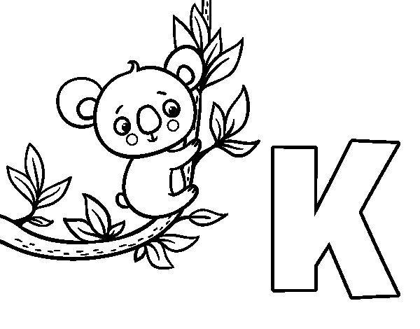 Dibujo De K De Koala Para Colorear