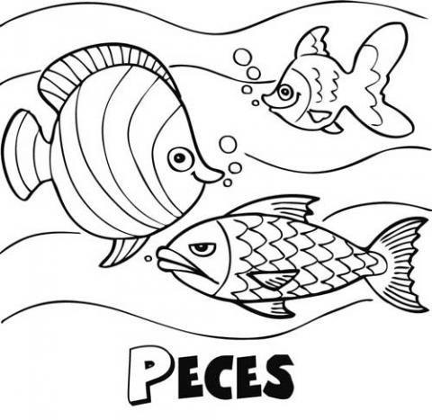 Peces Nadando  Dibujos Para Colorear