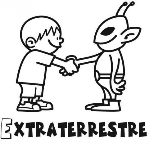 Niño Y Extraterrestre  Dibujos Para Colorear