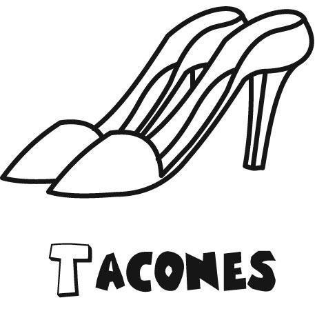 Zapatos De Tacon  Dibujos Para Colorear
