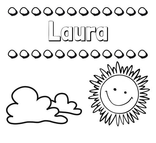Nombre Laura  Dibujo De Nombres En El Cielo Para Pintar