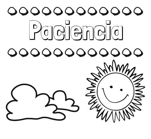 Nombre Paciencia  Dibujo De Nombres En El Cielo Para Pintar