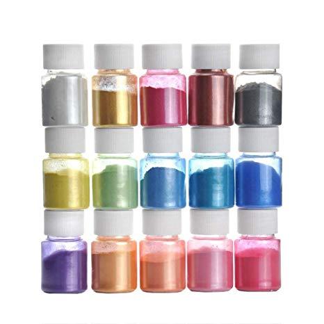 Pigmentos En Polvo,15 Colores Natural Mica Tintes Para Teñir