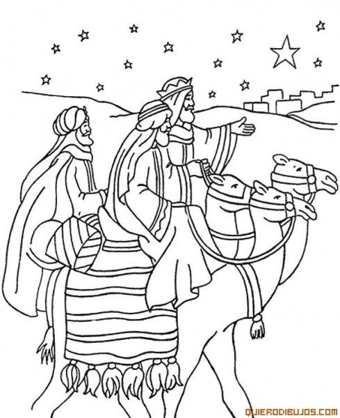 Dibujos Para Colorear De Navidad De Los Reyes Magos Montados En