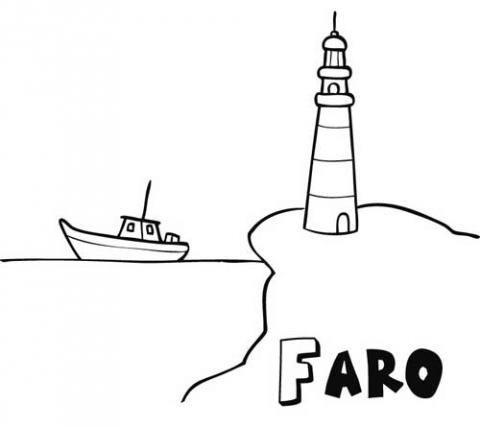 Dibujo De Faro Y Barco Para Imprimir Y Pintar  Dibujos Del Mar