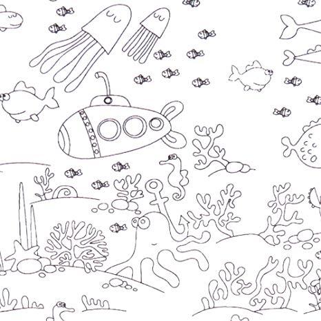 Tejido Algodón Océano Para Colorear (o Pas X27 Cm
