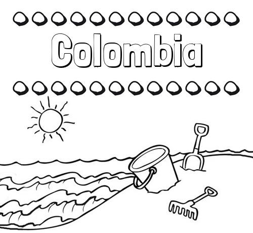 Nombre Colombia  Nombres En La Playa  Dibujos Para Colorear