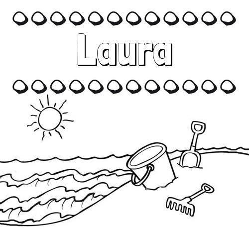 Nombre Laura  Nombres En La Playa  Dibujos Para Colorear
