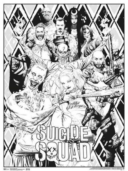 Free Suicide Squad Movie Poster Coloring Pages For Adults
