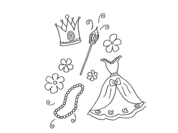 Dibujo Para Pintar Con Niños De Un Traje De Princesa