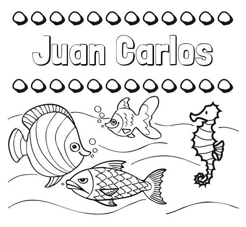 Nombre Juan Carlos  Peces  Dibujos De Nombres Para Pintar