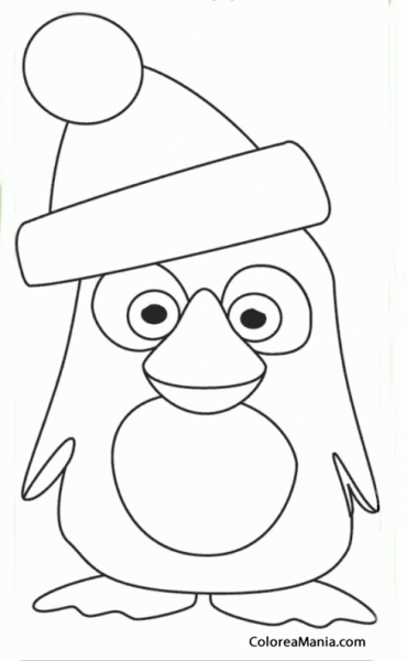 Colorear Pingüino Con Gorro Navideño (animales Polares), Dibujo