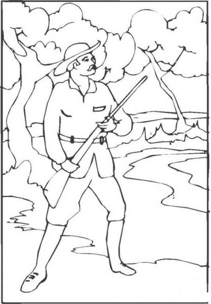 Dibujo De Cazador De Patos Con Escopeta Para Pintar Y Colorear