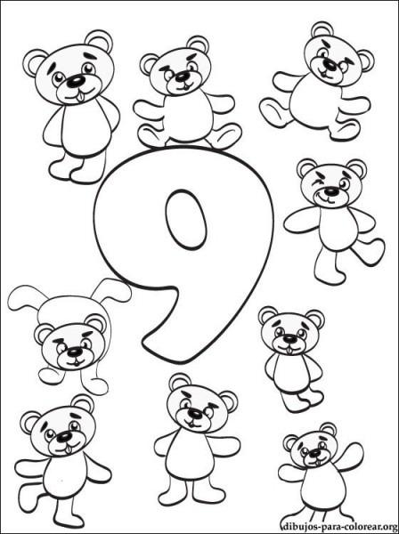 Dibujo Número 9  Dibujos De Números Para Imprimir
