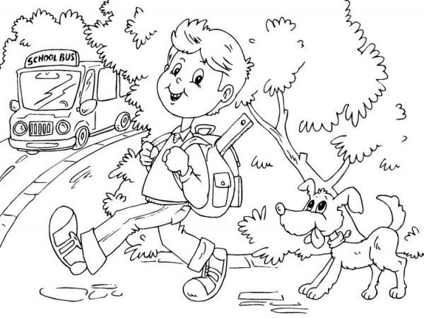 Dibujo Para Colorear Ir Al Colegio En Autobús