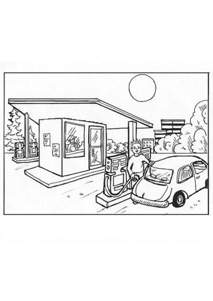 Dibujo Para Colorear Gasolinera  Ilustración