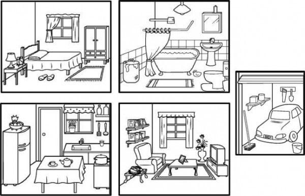 Partes De La Casa En Ingles Para Niños Para Colorear – Dibujo