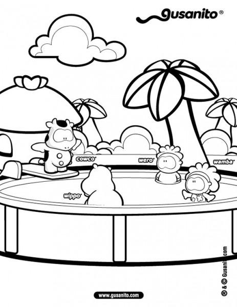 Dibujos Para Colorear Cowco Y Amigos En La Piscina
