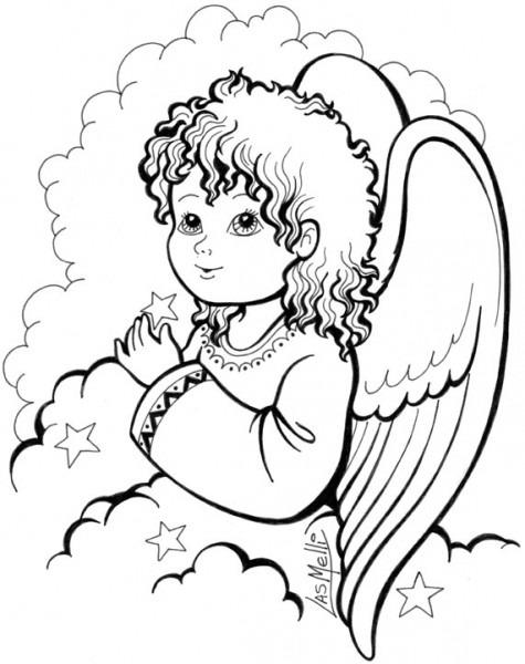 Imagen De Un Angel De Laguarda Para Colorear