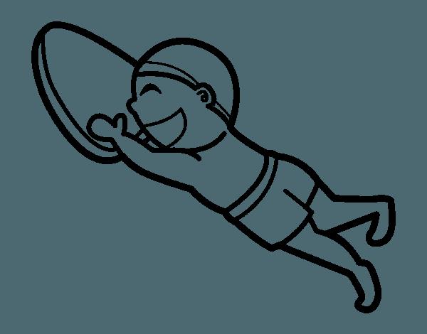 Dibujo De Aprender A Nadar Para Colorear