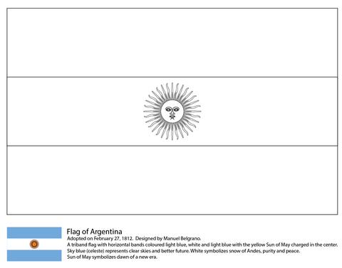 Dibujo De Bandera De Argentina Para Colorear