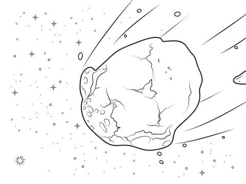 Dibujo De Asteroide Acuoso Para Colorear