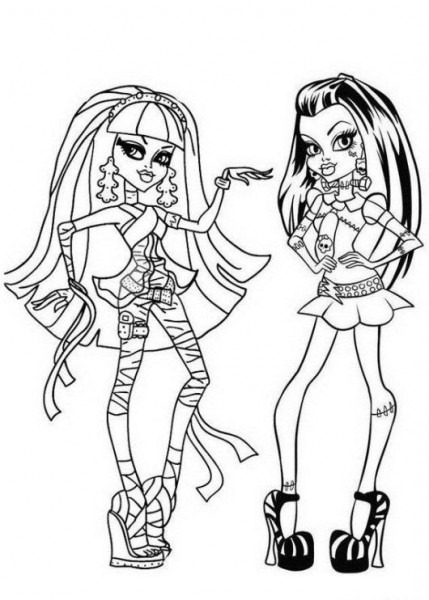 Cleo De Nile Y Frankie Stein Monster High Para Colorear
