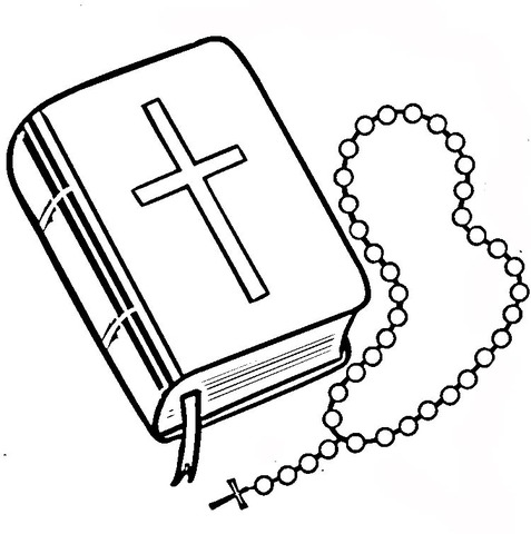 Dibujo De Biblia Y Rosario Para Colorear