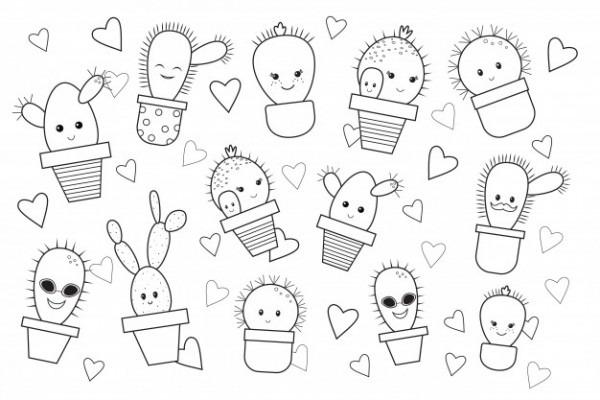 Cactus De Dibujos Animados Divertido, Libro Para Colorear  Doodle