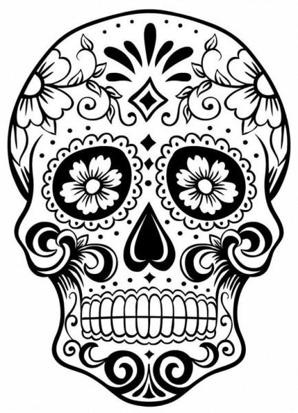 Dibujo  Sugar Skull, Calaveras De Halloween Para Colorear