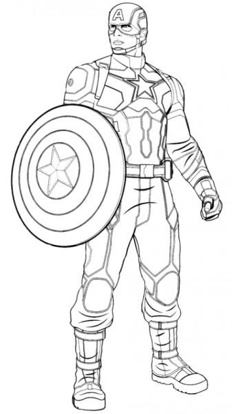 Dibujo 1 De Capitán América  Civil War Para Colorear