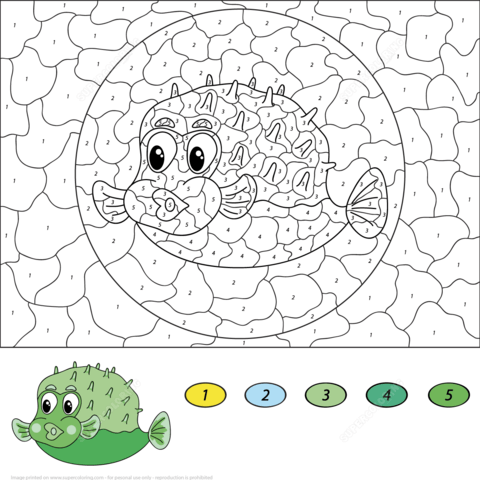 Dibujo De Colorear Por Números Un Pez Globo Para Colorear