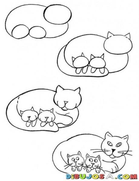 Como Aprender A Dibujar Una Gata Con Gatitos Para Pintar Y