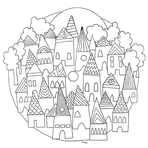 Dibujo De Mandala Paisaje Urbano Antiguo Para Colorear