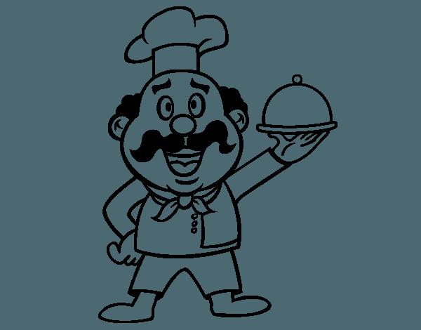 Dibujo De Cocinero Italiano Para Colorear