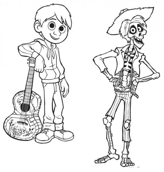 Dibujo Para Colorear Coco   Miguel & Hector 2