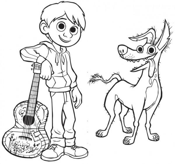 Dibujo Para Colorear Coco   Miguel & Dante 4