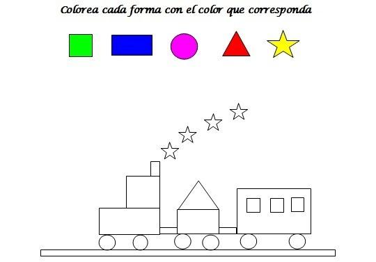 Colorea El Tren  Colorear Con Formas