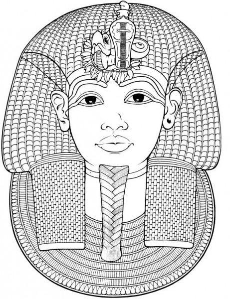 Dibujo Para Colorear Relajante Egipto   Máscara Funeraria De