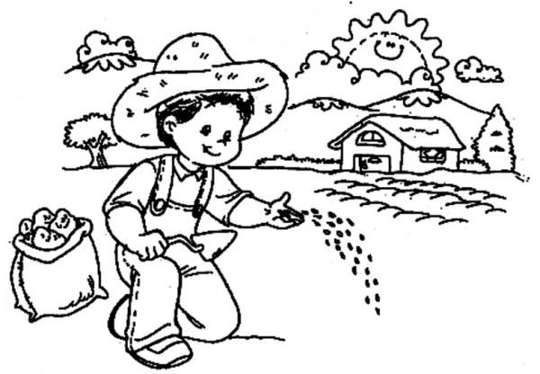 Dibujos De Niños Campesinos Para Colorear