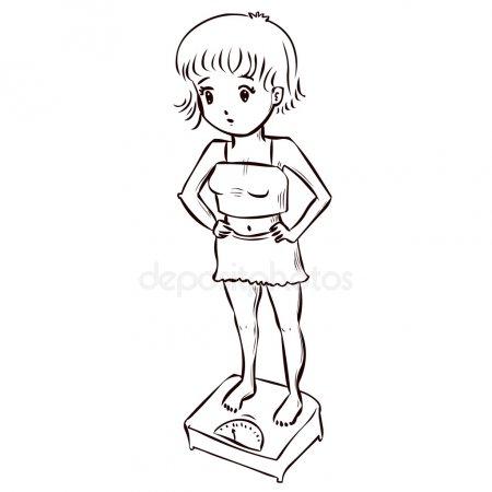 Dibujos Animados Anorexia Imágenes Vectoriales, Ilustraciones