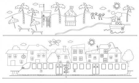 Animado  Paisaje Urbano Para Dibujar
