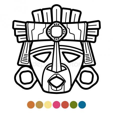 Máscara Maya Militar Con Cabeza Jaguar Vector Ilustración — Vector