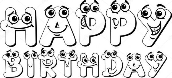 Dibujos  Letras Feliz Cumpleaños Para Colorear