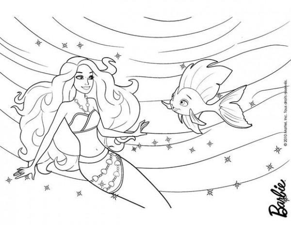 Dibujos Para Colorear Barbie Con Su Cola De Sirena